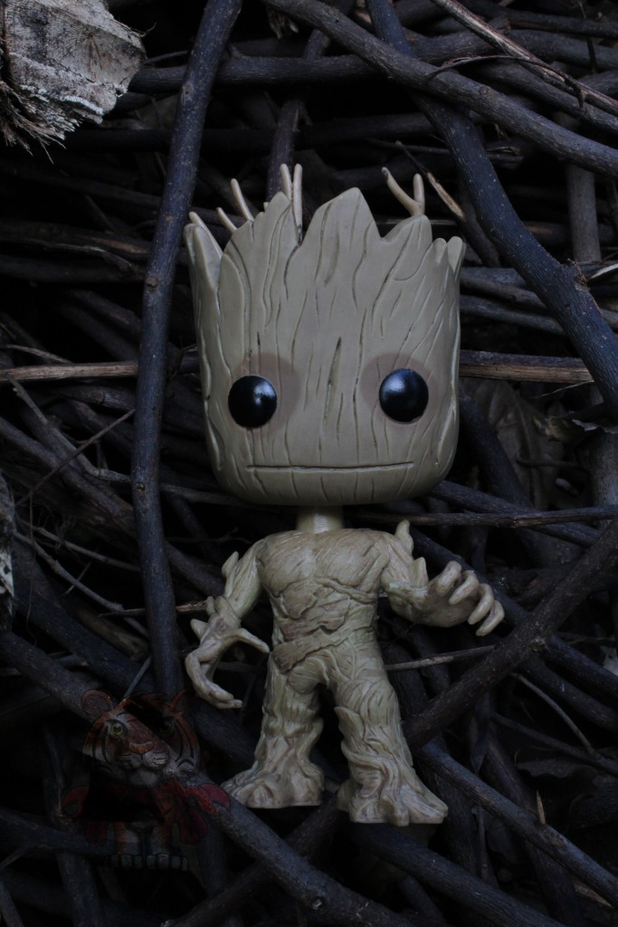 Groot and twigs, hiding from the sun