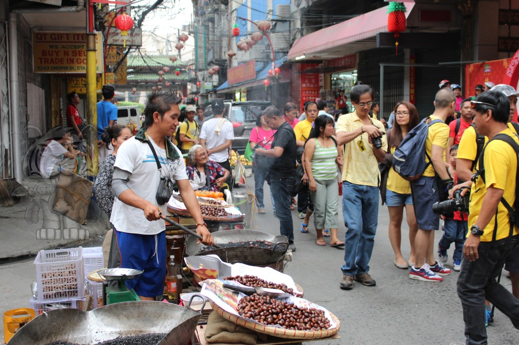 Guy selling Castanas (roasted chestnuts)