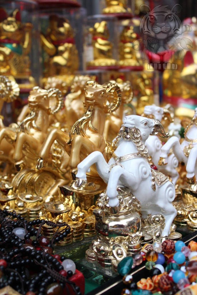 Goat, Sheep, and Ram figures being sold along the streets