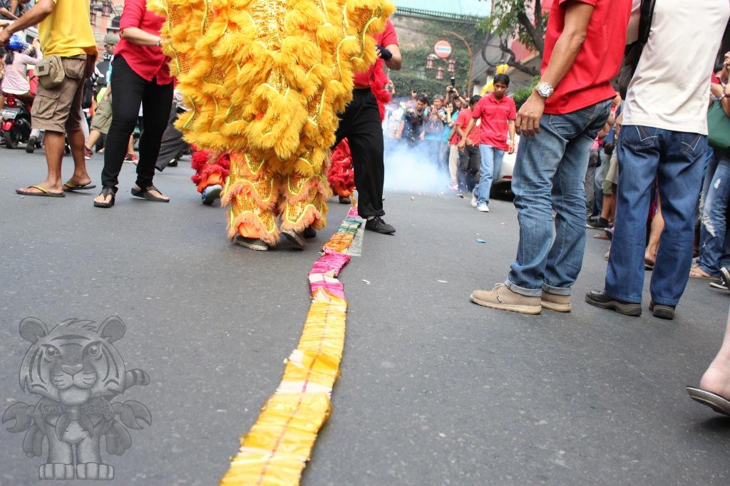 A judas' belt firecracker laid along the road.