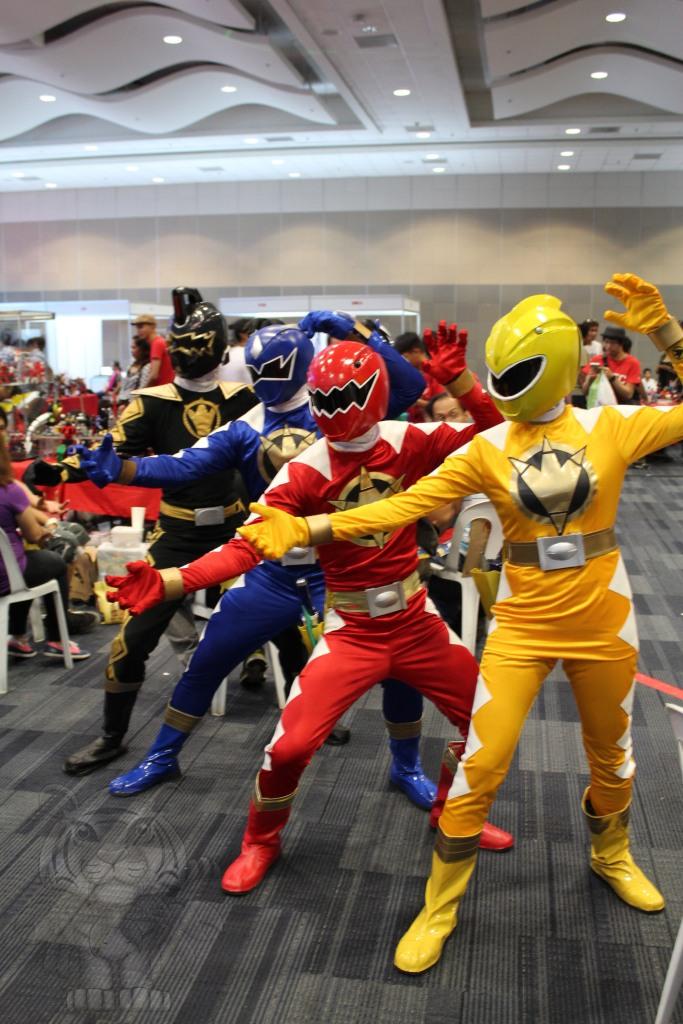 Black, Blue, Red, and Yellow Ranger of Power Rangers Dino Thunder.