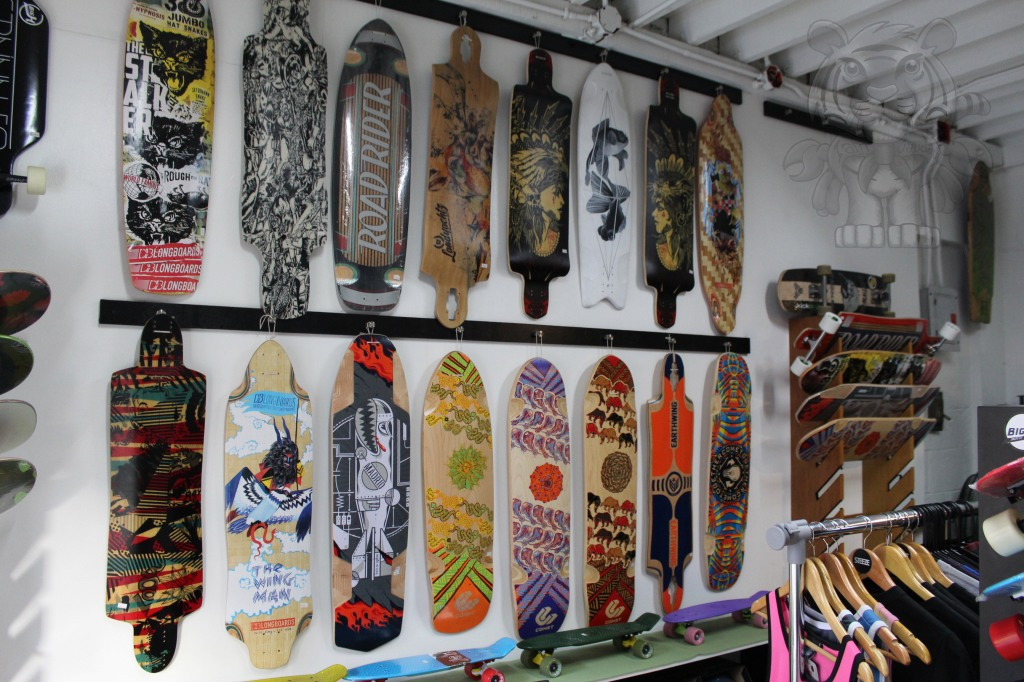 This shop also sells skateboards.
