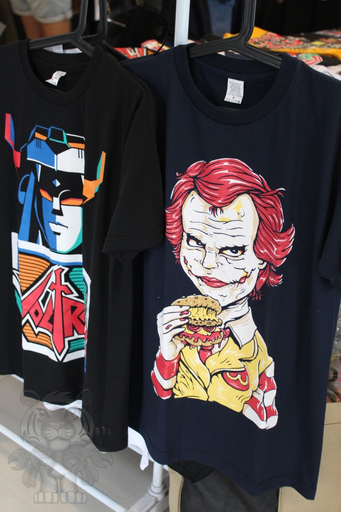 "T-shirts. With Ronald ""joking"" around"
