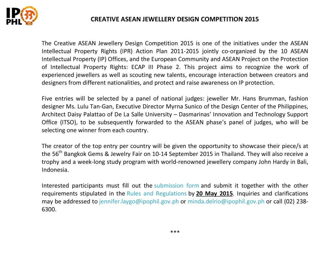 CREATIVE ASEAN JEWELLERY DESIGN COMPETITION 2015