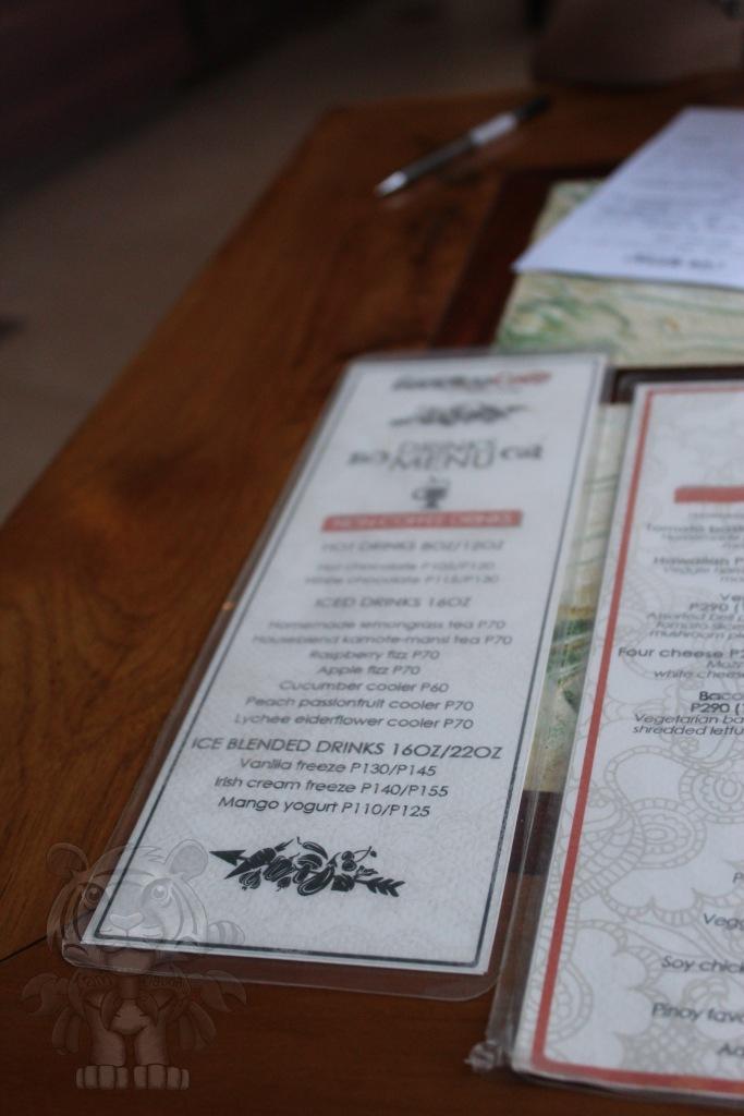 Beverages menu.