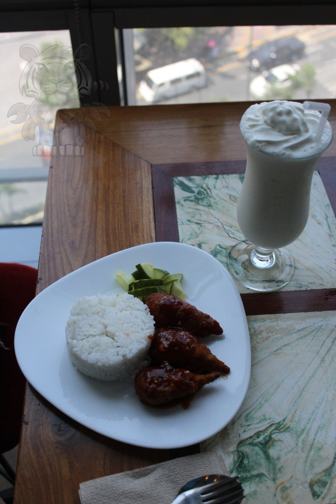 Vanilla Ice freeze and a Vegan saucy drumstick with rice