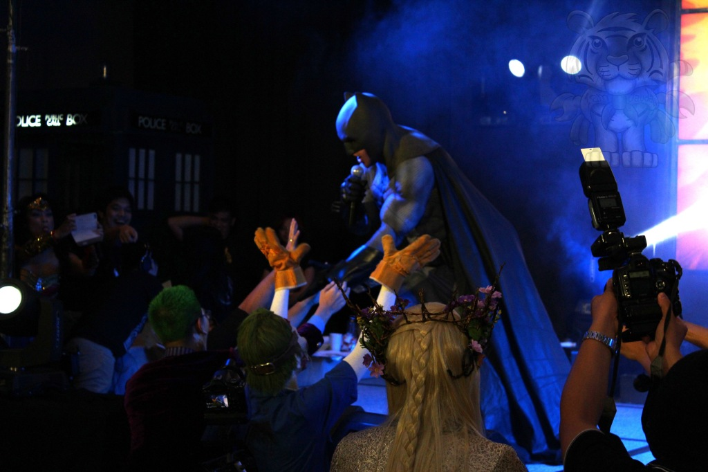 "Batman and his joker fans. Batman doing a lip-sync of the song ""Tearing up my heart"" by N'Sync."