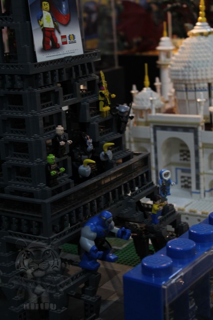 Lego Eiffel Tower with heroes.