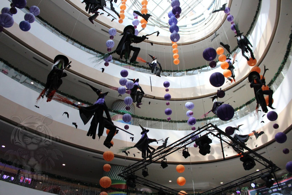 Witches fly around the atrium of fishermall