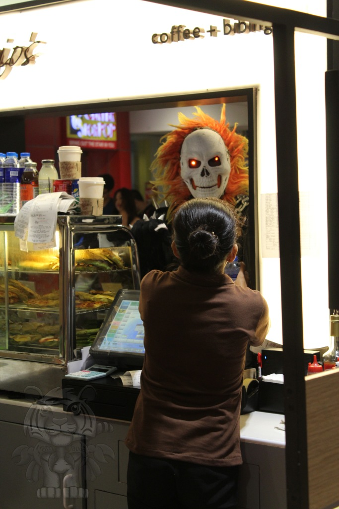 Ghost Rider buying some...refreshments?